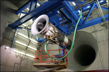 Jet engine in test cell